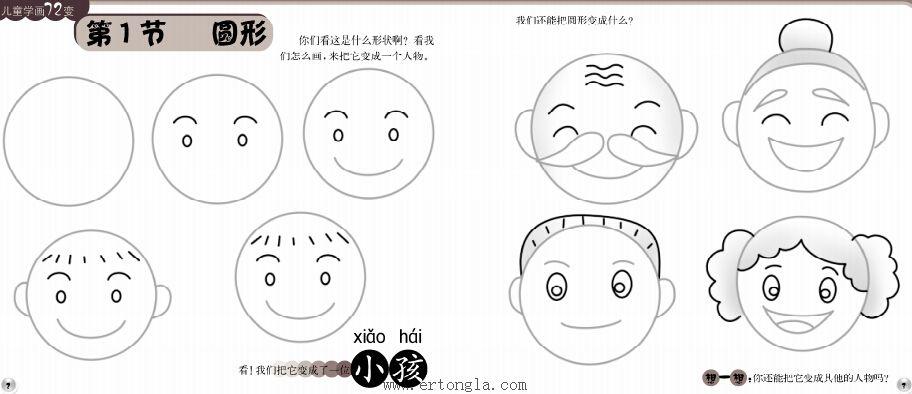 幼儿简笔画小孩头部,人物简笔画,儿童啦网
