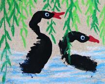 手印画图片之――黑天鹅