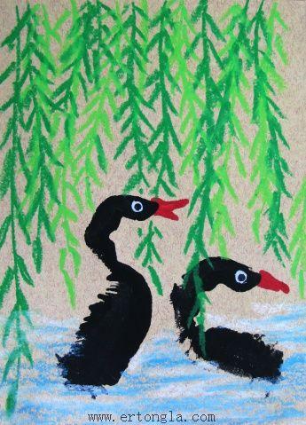 手印画图片之——黑天鹅,手印画图片,儿童啦网