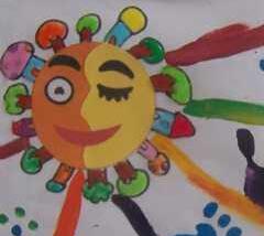 幼儿手印画作品 梦中的太阳+花儿朵朵