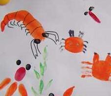 手印画范例:龙虾、金鱼、孔雀、公鸡、葡萄