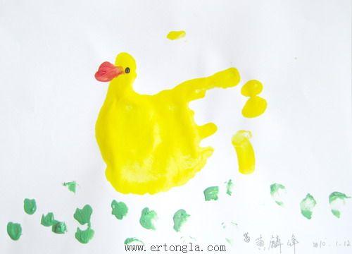 手印画图片小鸭  ad:加入儿童啦早教简笔画qq群148