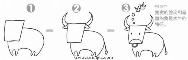 """之""""简笔画水牛图片"""",水牛简笔画怎么画?学习简笔画怎么画水牛步骤分解,由简单到复杂,怎么画卡通水牛?下面我们就一起来学习画一画水牛简笔画吧! 幼儿简笔画,是通过生活中常见的人物、动物、植物等常见实物入手,目识、心记、手写等活动,提取客观形象最典型、最突出的主要特点,以平面化、程式化的形式和简洁大方的笔法,表现出既有概括性又有可识性和示意性的绘画。"""