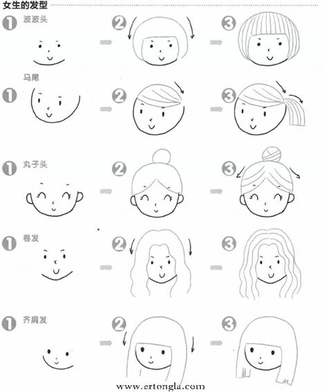 女生的发型简笔画步骤分解