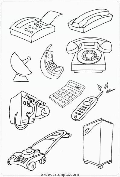 电话简笔画,怎么画,电话,洗衣机,卫星,吸尘器,洗衣机