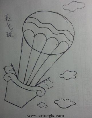 气球手绘漫画素材 热气球简笔画