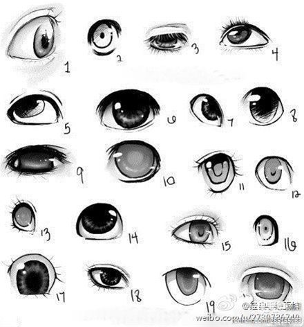 简笔画眼睛的不同表情画法