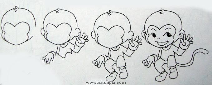 可爱猴子简笔画