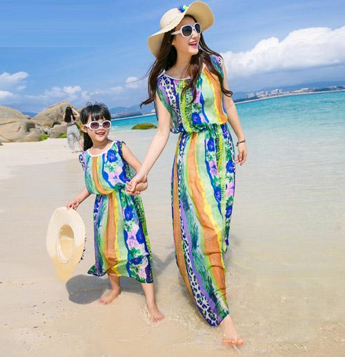 2015亲子装夏波西米亚海滩裙度假旅游全家装童装T恤