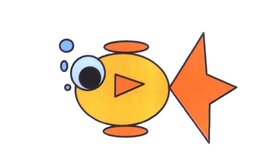 小金鱼动物简笔画