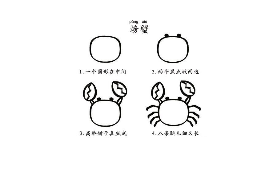 螃蟹,简笔画螃蟹怎么画,螃蟹步骤分解