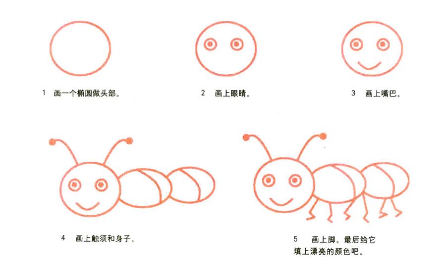 彩色蚂蚁简笔画画法 怎么画彩色蚂蚁的简笔画 简笔画大全 儿童简笔画