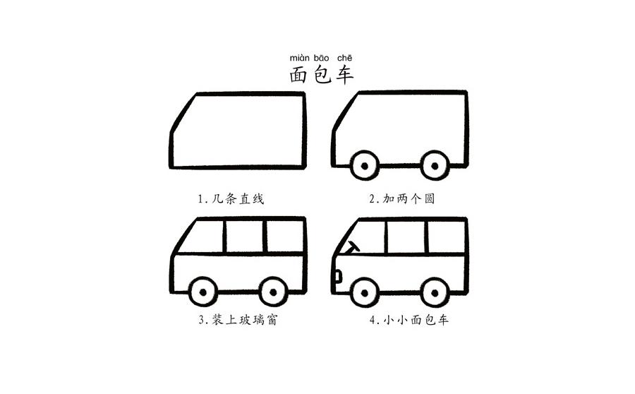 ,简笔画面包车怎么画, 面包车步骤分解