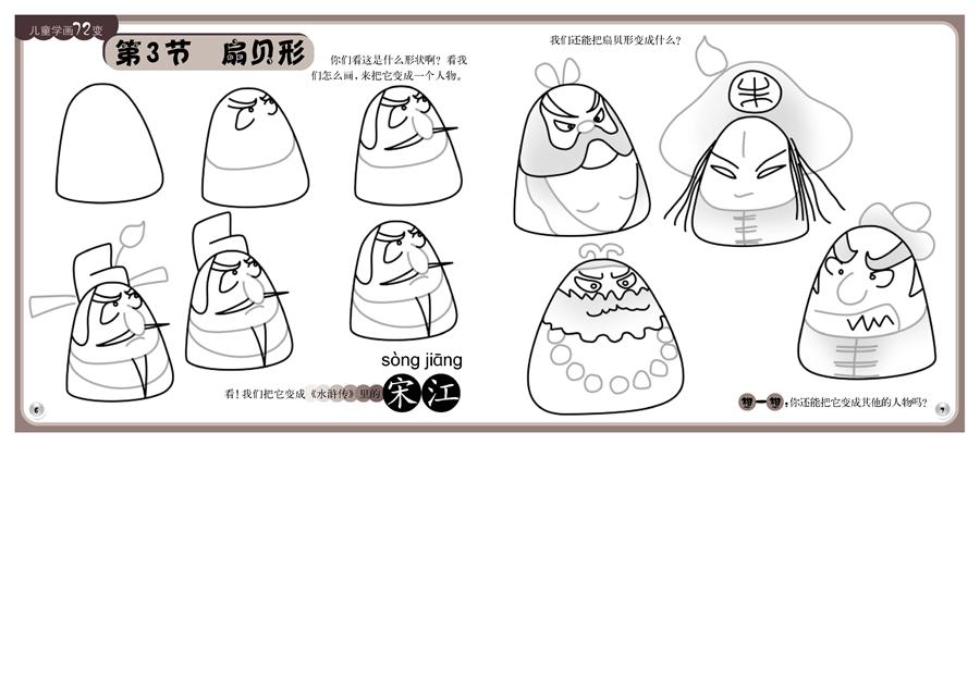 鸟兽类简笔画,现在我们来分享的是《儿童学画72变》画人简笔画,《