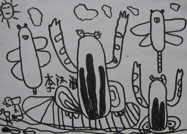 兒童圖庫 兒童畫,蠟筆畫 > 學前班美術興趣班學生線描畫優秀作品選  &