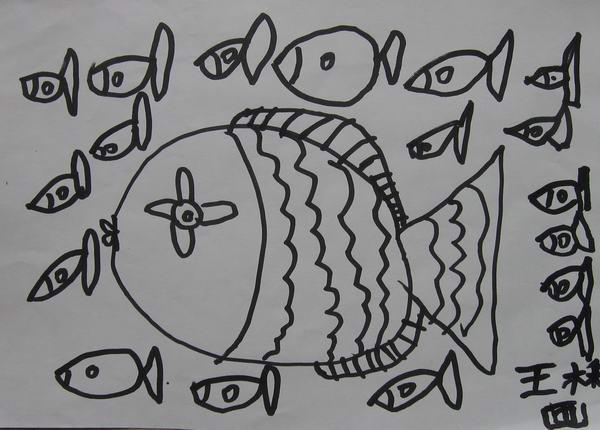 学前班美术兴趣班学生线描画作品选图片
