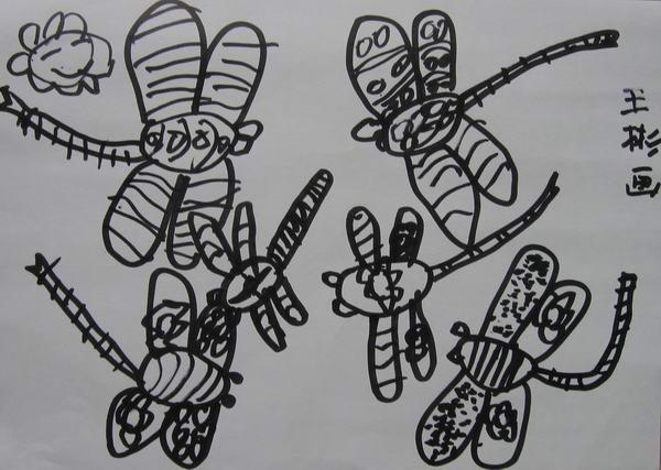 儿童图库 儿童画,蜡笔画 > 学前班美术兴趣班学生线描画优秀作品选  &